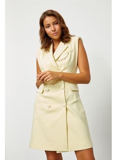 Setre Aqua Vatkalı Ceket Elbise Sarı